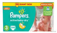 PAMPERS Подгузники Active Baby-Dry Midi (5-9 кг) Упаковка 108шт