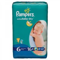 PAMPERS Подгузники Active Baby-Dry Extra Large (15+ кг) Упаковка 16